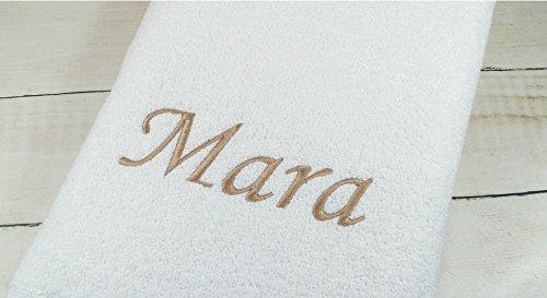 ★ Handtuch mit Namen bestickt ★ Duschtuch ★ Geschenk ★ Badetuch ★ 500 g/m2 ★ (70 x 140 cm, Weiß)