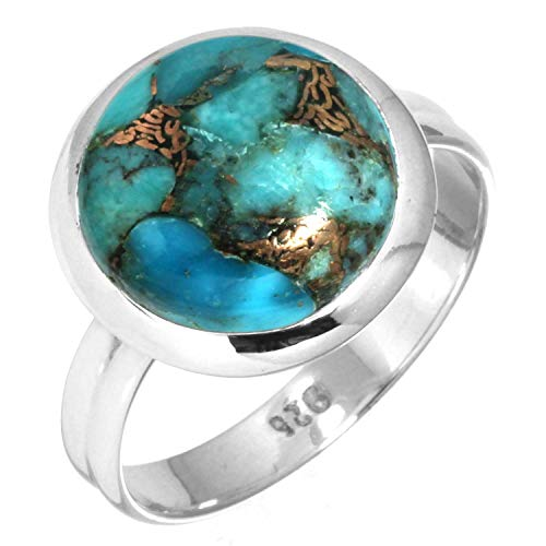 Jeweloporium Kupfer Blau Türkis Ring 925 Sterling Silber Handgefertigte Schmuck Größe 56 (17.8)