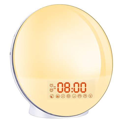 Wake Up Light,Cadrim Radio FM Reloj Despertador Reloj Despertador Dual + Cable USB, Control Táctil...