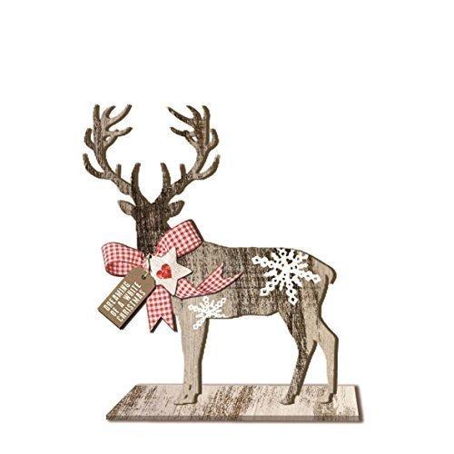 Cerf De Noël Flocon de neige VICHY cœur en bois décoration 18.5cm x 21cm x 6.5cm