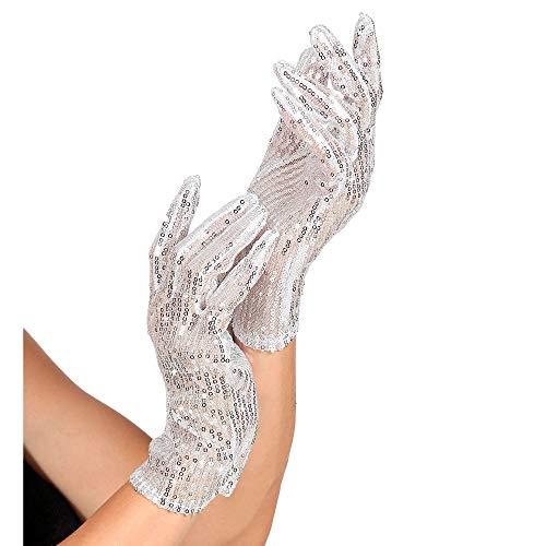 Widmann 1455A Paillettenhandschuhe, Unisex- Erwachsene, Silber, Einheitsgröße