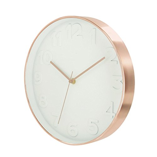 THE HOME DECO FACTORY HD3305 Horloge Ronde PP Blanc/Cuivre 30,70 x 4,50 x 30,70 cm