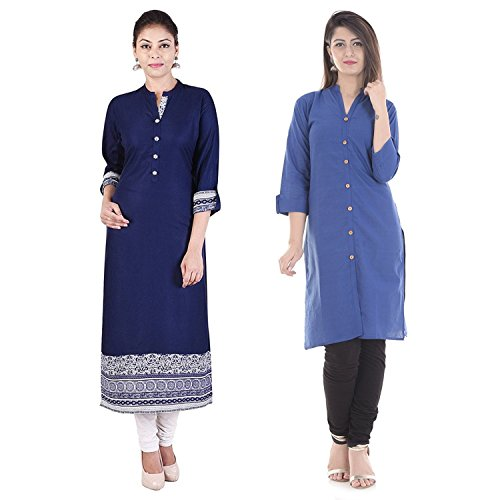 Prateek Exports Exclusive Collections Solid Blue Rayon Women Kurti and Black Cotton...