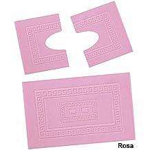 Torino Juego de 3 alfombras de baño en tejido rizado 60x90 cm + Alfombrilla para inodoro 60x45 cm - ROSA - ROSA