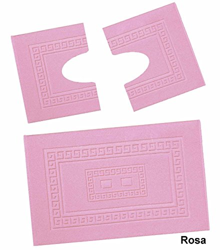 Casa tessile torino set 3 tappeti bagno in spugna cm 60x90 + 2 girowater cm 60x45 - rosa
