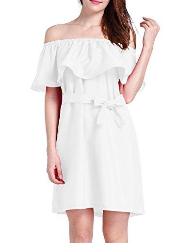 Minikleider Damen Schulterfrei Strandkleider Ärmellos Sommerkleid Abendkleid Party Club Oberteil Mini Kleider Weiß