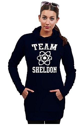 Long à capuche tEAM sHELDON pull à capuche pour femme big bang theory divers coloris xS s m l - Noir/Blanc