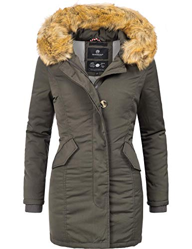 Marikoo Damen Winter Mantel Winterparka Karmaa Anthrazitgrau Gr. XS Mantel Wintermantel