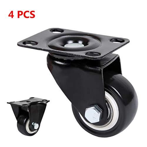 4 Lenkrollen Hochleistungs-Doppelkugel-Pu-Gummi-Lenkrolle mit Bremsen für Möbeltischwagen-Einkaufswagen