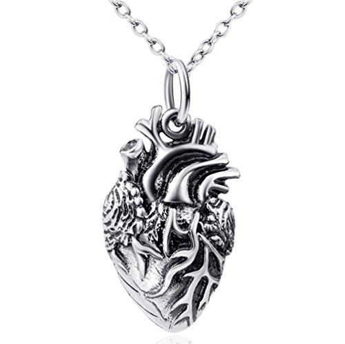 L&H 925 Sterling Silber Lebensechte Anatomische Herz Anhänger Halskette, 18-Zoll-Kette (In 18 Silber-kette)