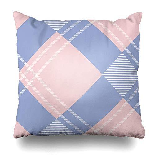 Monicago Zierkissenbezüge, Blue Purple Check Tartan Plaid Pattern Pink In Tone Abstract Checkered Color Crimson Geometric Design Pillowcase Square Size 18 x 18 Inches Zippered Home Decor Cushion Case