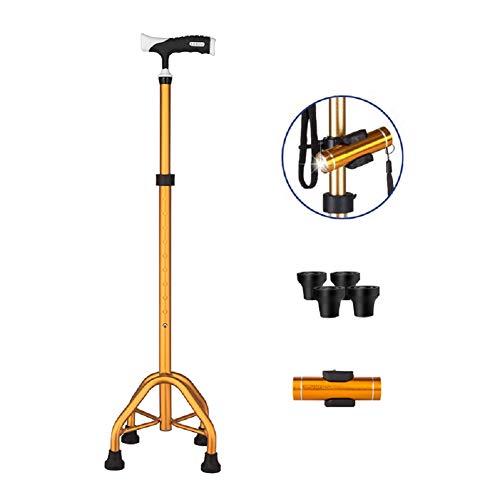 Cane Crutch Verstellbarer Big Quad Cane Leichte Spazierstöcke Gehstock für Männer und Frauen Handkrücke mit T-Griff Krücken mit LED-Licht,Gold - Cane Quad Faltbare