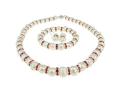 Perle de culture et cristaux Rouge Cranberry Lot de 3 Set de Collier Bracelet & Boxed- 7–8 mm Cadeau de Noël idéal