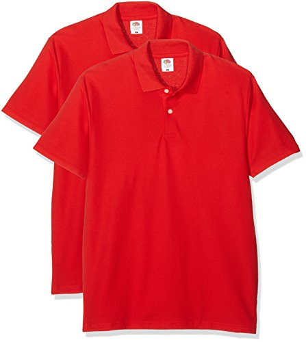 Fruit of the Loom Herren T-Shirt Original Polo Rot (Red)