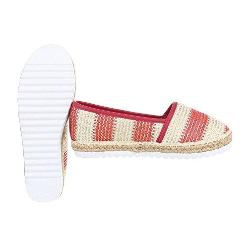 Slipper Damenschuhe Low-Top Moderne Ital-Design Halbschuhe Rot Beige 6501-BL