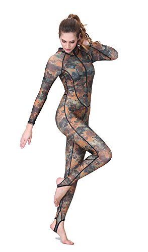Dive & Sail Wetsuit Hoody Stirrup Long Sleeve Front-zipper Spandex One-piece Full Body UV UPF Sunblock Swimming Suit Camouflage for Women Water Sports (Women, XS)