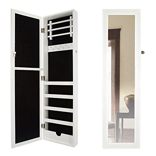 Wand-Schmuckkasten mit Spiegel Holz weiß 110 x 30 x 9 cm | 3 Leisten für Ohrringe | 1 Leisten mit Haken | 5 Längsfächer