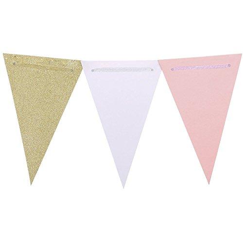 Preisvergleich Produktbild Marry Handeln 8,5Füße Vintage Stil Pennant Banner Papier Dreieck Flaggen Wimpelkette für Hochzeiten, Baby Dusche, Geburtstag, Weihnachten Decor, pink + weiß + Champagne Gold Glitter, 15Flaggen