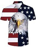 RAISEVERN Camisa Hawaiana para Hombre Manga Corta Bandera Americana Águila Stag Fiesta de Playa Vestido Aves Hawaii Conjunto Medio