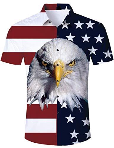 RAISEVERN Summer Tshits Herren Cooles Hawaii Hemd Eagle Printed -