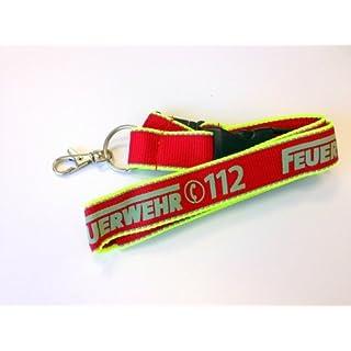 Schlüsselband Keyholder rot/neon gelb Audruck FEUERWEHR 112 mit Reflex Silberstreifen
