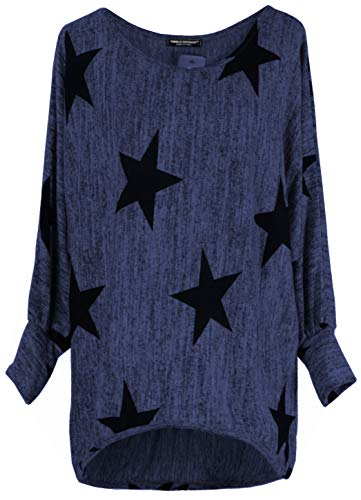Emma & Giovanni - Langarmshirt Mit Blume - Pullover- Asymmetrisch Top - Damen (DE 44/46 (Herstellergröße XL), Blau) - Asymmetrische Top