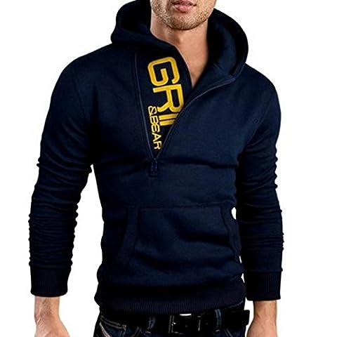 Bluestercool Sweat-shirt Hommes Manches Longues Couleurs Mélangées Sweats à Capuche (M, 04)