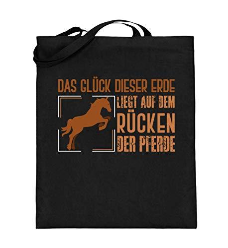 Glück der Erde sind Pferde für Reiter - Jutebeutel (mit langen Henkeln) -