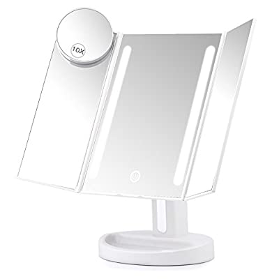 Herwiss Lighted Vanity Makeup Mirror with 10x Magnifying Soft Led Light Illuminated for Beauty Cosmetic Shaving- Auto Off Dual Power Supply 180 Degree Rotation Portable Compact Travel Trifold Mirror - cheap UK light shop.