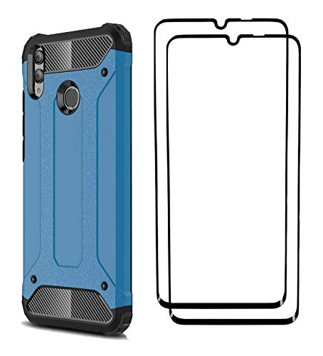 FANFO® Huawei P Smart (2019) Hülle + [2 Stück] Gehärtetem Glass, TPU + PC-Kombination Langlebig Schutzhülle + 9H Härte Displayschutzfolie Folie für Huawei P Smart (2019), Blau