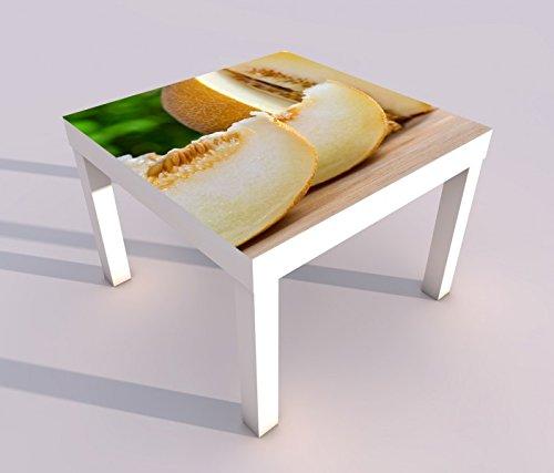 Design - Tisch mit UV Druck 55x55cm Melone Honigmelone Obst Küche Essen Spieltisch Lack Tische Bild Bilder Kinderzimmer Möbel 18A1988, Tisch 1:55x55cm