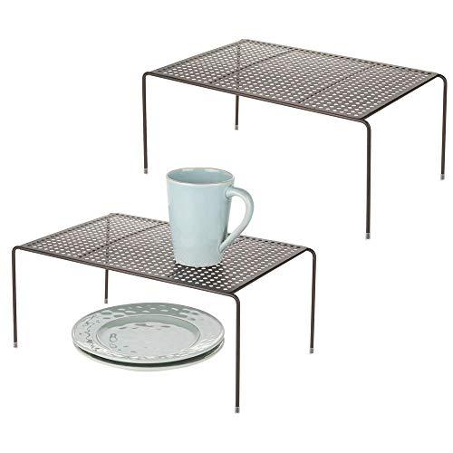 mDesign set de 2 étagère cuisine - rangement cuisine autoportant en métal - range vaisselle de cuisine pour tasses, assiettes, aliments, etc. - couleur bronze