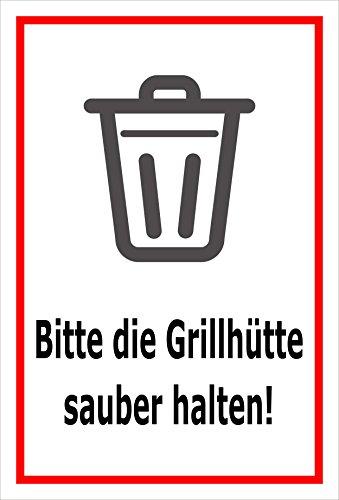 Aufkleber – Bitte die Grillhütte sauber halten – 15x10cm – S00359-020-B +++ in 20 Varianten erhältlich