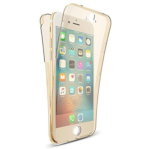 Für iphone 5S/5 Hülle Silikon Transparent,Handyhülle für iphone SE 360 Grad Schutz Vorne Hinten Touch Case,SKYXD Beidseitiger Rundumschutz Full Body Cover Klar Clear Dünne Weich Rückseite Handy Tasche # Gold