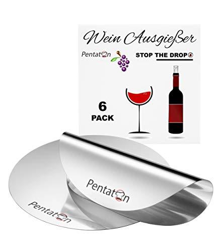 Pentaton Wein Ausgießer, Einschenkhilfe für tropffreies Einschenken, Wiederverwendbare tropffreie Weinausgießer Plättchen (6 Pack)