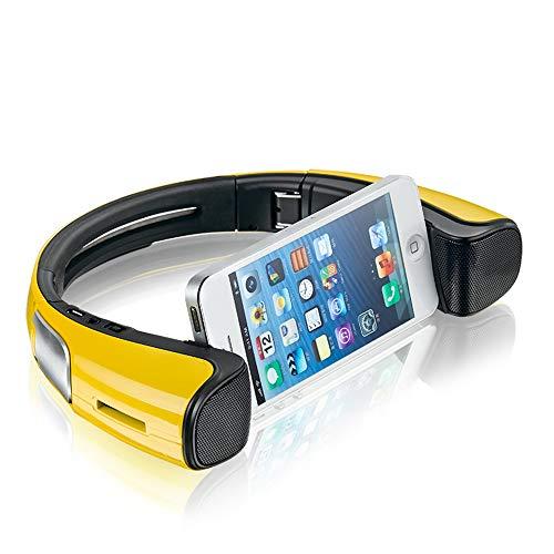 LIUJIE Tragbare Bluetooth-Lautsprecher mit Handyhalterung Dock Neck, Smartphone-Halterung, tragbarer Lautsprecher, um den Hals zusammenklappbar für Android,Yellow - Lautsprecher Hängen