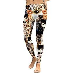 YUJIAKU Leggings para Mujer Gato Encantador Hologrephic Impresión Digital Fitness Legging Pantalones de Entrenamiento de Cintura Alta Casual Street Leggins