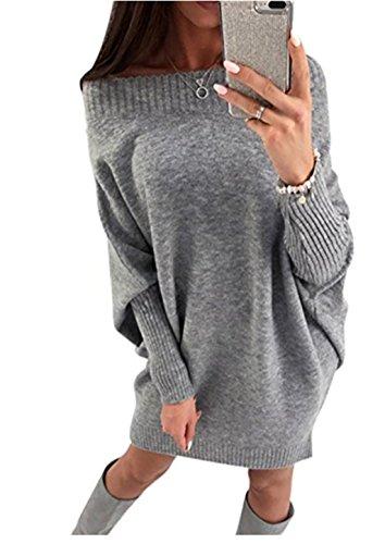 ASSKDAN Damen Elegant Schulterfrei Langarm Lose PulloverKleid Strickkleid Sweater Oberteile Oversized Sweatshirt Tops Lang (L, Grau)