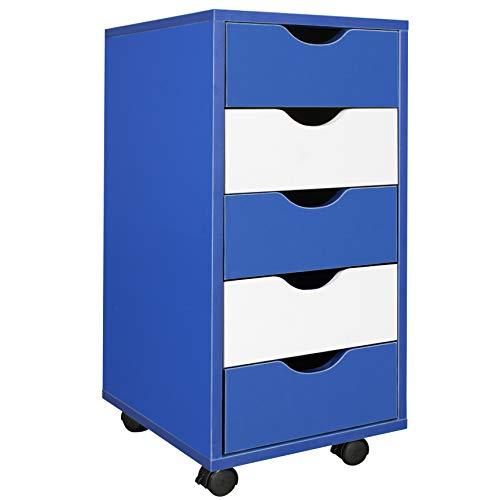 FineBuy Kinder Rollcontainer COOL 33 x 64 x 38 cm MDF-Holz 5 Schubladen Blau Weiß | Moderner Schubladencontainer mit Rollen | Standcontainer Bürocontainer