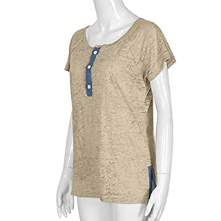 Women's Patchwork T-Shirt,LANSKIRT Sales! Ladies Loose Casual Short Sleeve Blouse with Button Summer Fashion Tops Solid Color Vintage Blouses Beige