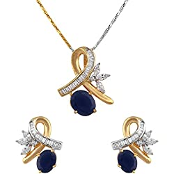 CHARMING JEWELS Golden Non-Precious Metal American Diamond Pendant Set for Girls and Women