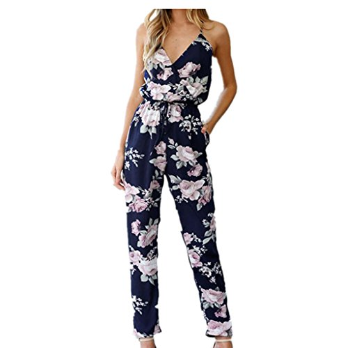 SHOBDW Womens Jumpsuits, Women Backless Jumpsuit Sleeveless V-Neck Floral Printed Playsuit Party Trousers
