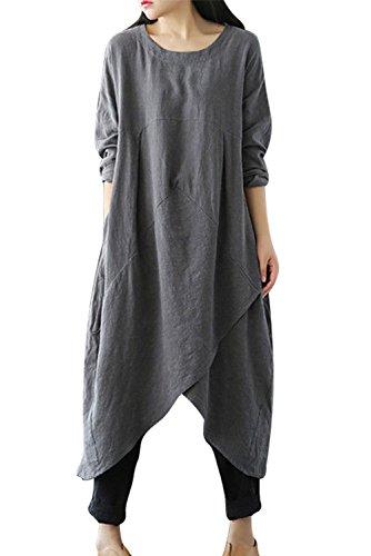 MAGIMODAC Leinenkleid Damen Sommer Lang Tunika Kleid Vintage Baggy Party Kleider Maxikleid Strandkleid Große Größe Gr.38-50 (Grau, Etikett 5XL/DE 50)