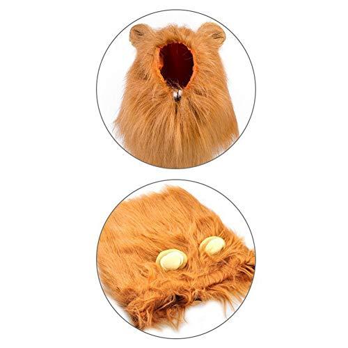 Lol Einfach Kostüm - LANGING 1 Stücke Hund Löwe Mähne Groß Pet Hund Katze Löwe Perücken Mähne Haar mit Ohren