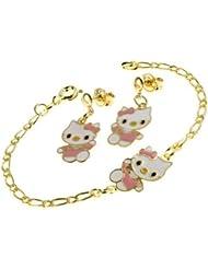 Kids Bijoux-Soporte para joyas, diseño de Hello Kitty-Pulsera de eslabón pequeño, 2 unidades, diseño de mariposa, color rojo