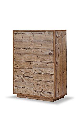 K-Möbel Highboard Anrichte Kommode Fichte Dekor 3 Türen 3 Schubladen Push-to-Open 110x80x38 cm