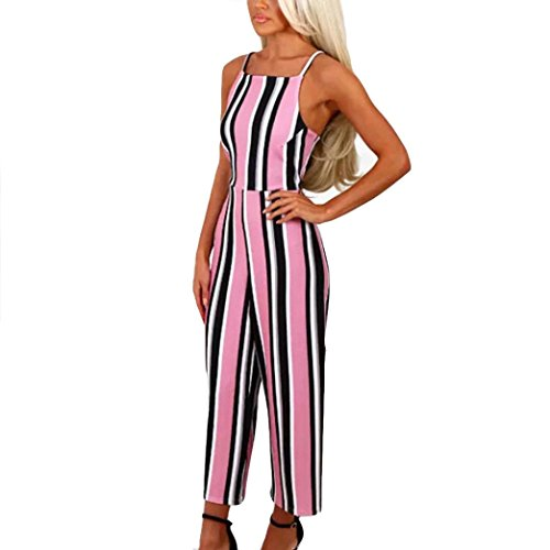 Wawer Women Summer Jumpsuits Causal Sleeveless Striped Top with Elegant Wide Leg Long Pants Strap Clubwear Bodycon Playsuit Romper  XL  Pink