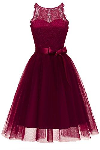 Victory Bridal Damen Elegant Spitzenkleid Aermellos A-Linie Abendkleider Prom/Ballkleider Spitzerei...