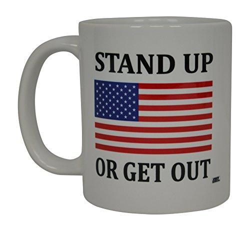 Republikanische Konservative Kaffee Tasse USA Flagge American Stand Up oder Get Out Neuheit Tasse Hymne Geschenk für Herren Dad Vater Ehemann Military Veteran Konservative USA Flagge