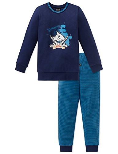 Schiesser Jungen Zweiteiliger Schlafanzug Capt´n Sharky Kn Anzug lang, Blau (Dunkelblau 803), 116